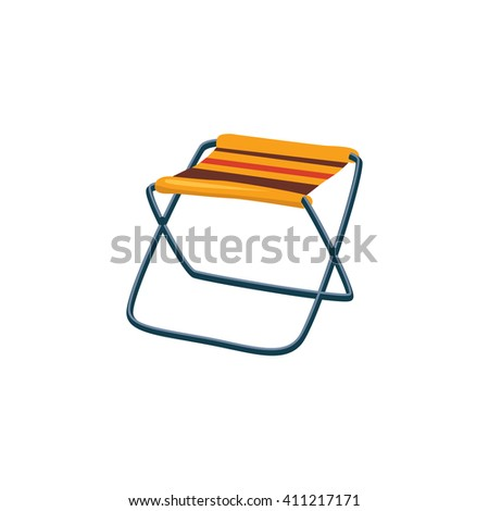 Foldable Camp Chair Cartoon Simple Style Colorful Isolated Flat Vector Illustration On White Background - stock vector