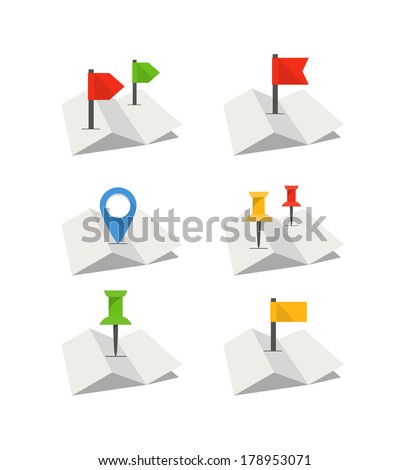 Folded abstract city map with collection of flags. Flat design - stock vector