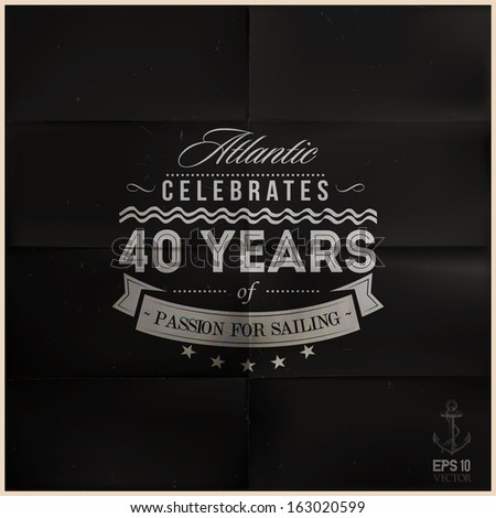 Folded Black Sailing Anniversary Badge_editable EPS 10 vector - stock vector