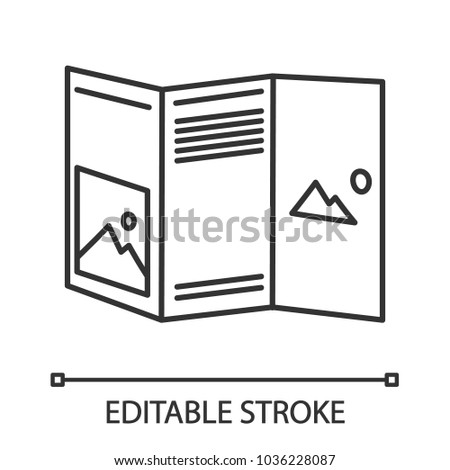 Folded Brochure Mockup Linear Icon Thin Stock Vector Hd Royalty