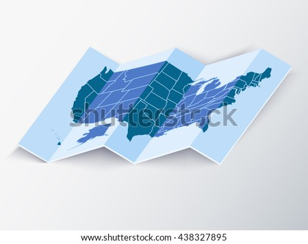 Folded Map Of Usa Realistic Vector