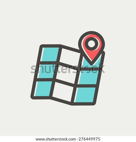 Folded map with pin icon thin line for web and mobile, modern minimalistic flat design. Vector icon with dark grey outline and offset colour on light grey background. - stock vector