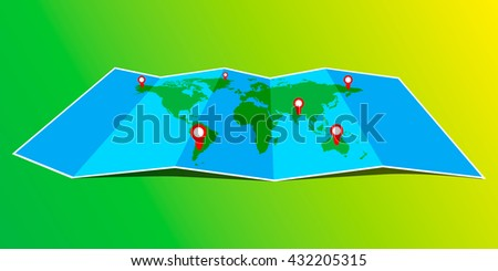 Folded maps with point markers, vector world map with infographic. Flat design. - stock vector