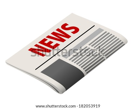 Folded  newspaper realistic icon with the header in red and stylized text and image for business concept design