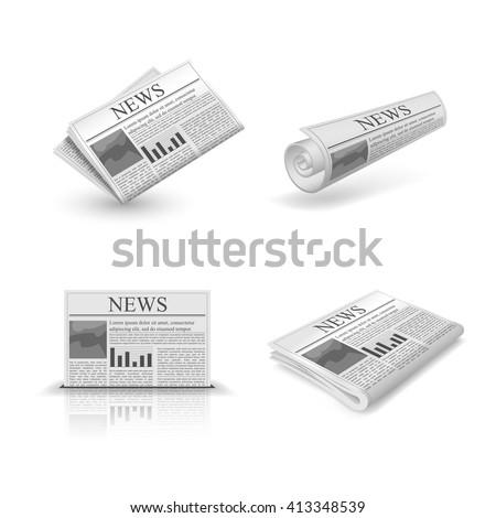 Folded newspaper set - stock vector