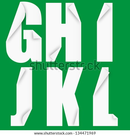 Folded paper forming the letters G H I J K L. Vector illustration eps10 - stock vector