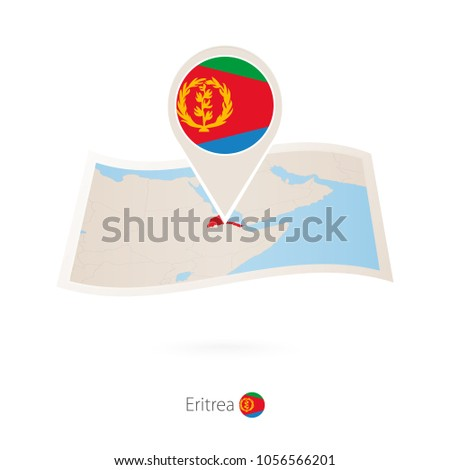 folded paper map eritrea flag pin stock vector 1056566201 shutterstock rh shutterstock com Veterans Flag Folded Properly Folded United States Flag