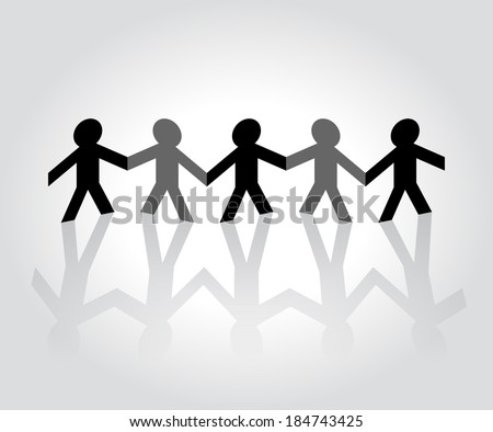Folded paper people holding hands - stock vector