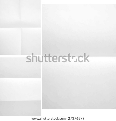 Folded paper texture three different A4 format - stock vector