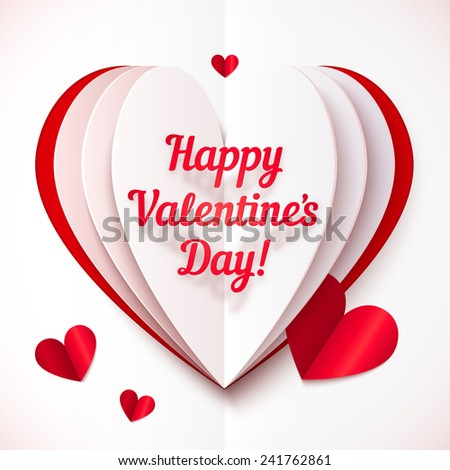 Folded paper vector heart with Happy Valentines Day text - stock vector