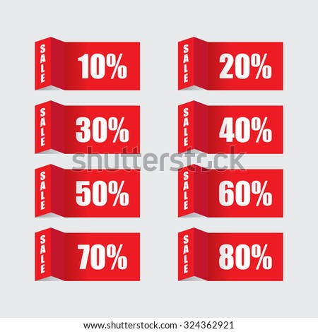 Folded Sale Labels - stock vector
