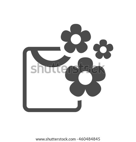 Folded shirt icon in single grey color. Laundry cleaning fragrance flower - stock vector