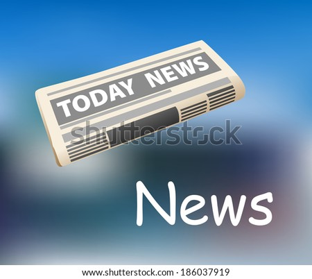 Folded today news newspaper icon on a graduated blue background with the text below for media design
