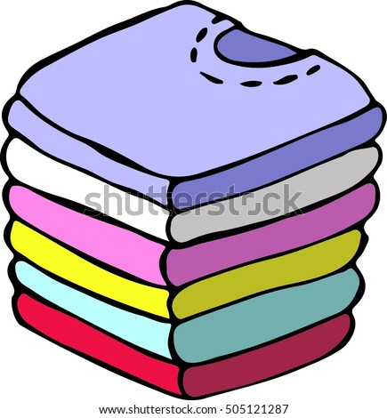 folded washing hand drawn doodle vector stock vector 2018 rh shutterstock com Piles of Cute Clothes Piles of Cute Clothes