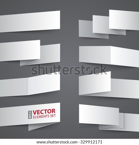 Folded white paper banners with realistic shadow on gray background. RGB EPS 10 vector design elements set - stock vector