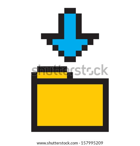 Folder and Arrow icon Set pixel art style. Isolated on white background. Folder and Arrow icon in a stylish white background. Pixel blue arrow isolated on white background. Blue arrow digital. - stock vector