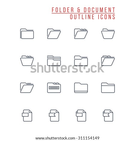 Folder And Document Outline Icons