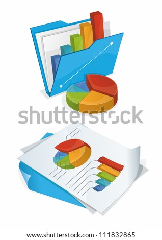 Folder And Papers With Charts - stock vector