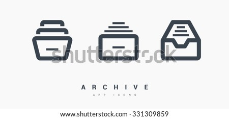 Folder archive. Cabinet. Drawer. Isolated minimal single flat icon in black and white colors. One of a set of linear web icons. Line vector icon for websites and mobile minimalistic flat design. - stock vector