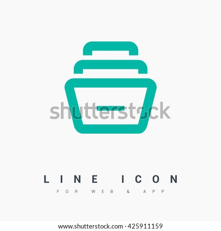 Folder archive. Cabinet. Drawer. Isolated minimal single flat icon. One of a set of linear web icons. Line vector icon for websites and mobile minimalistic flat design. - stock vector