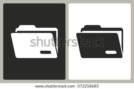 Folder   -  black and white icons. Vector illustration.  - stock vector