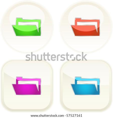 Folder button set. Vector illustration. - stock vector