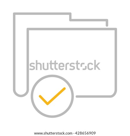 Folder Checked Illustration - Flat Icon