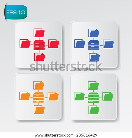 Folder,Connection,Database icon on buttons,clean vector - stock vector