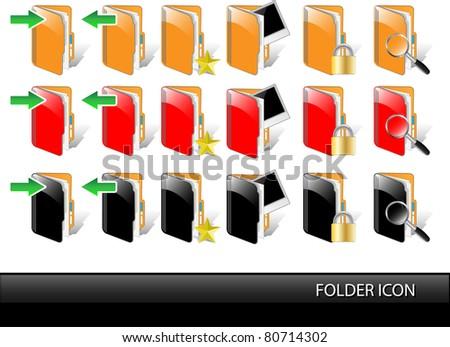 Folder glossy icon set-Vector illustration - stock vector