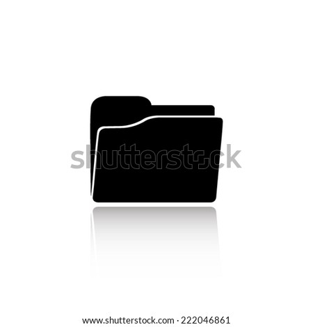 folder icon - black vector illustration with reflection - stock vector