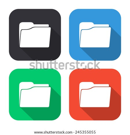 folder icon - colored illustration (gray, blue, green, red) with long shadow - stock vector