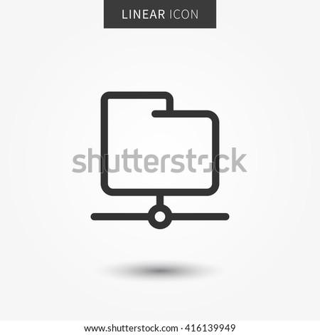 Folder icon vector illustration. Isolated ftp data symbol. Server folder line concept. Web storage graphic design. Web folder outline symbol for app. Folder pictogram on grey background. - stock vector