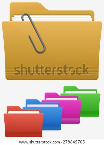 Folder Icon With Paperclip - stock vector