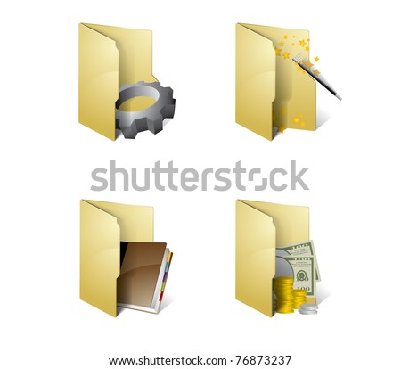 Folder icons - stock vector