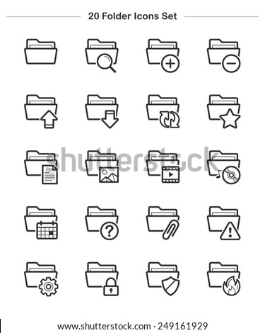 Folder Icons set, Line icon - Vector illustration - stock vector