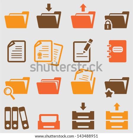 Folder icons set.Vector - stock vector