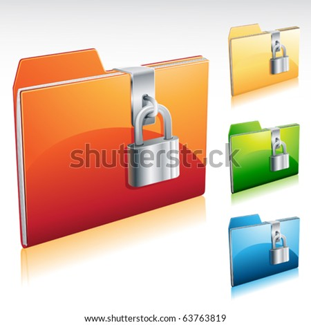 Folder lock icon with color variations - stock vector