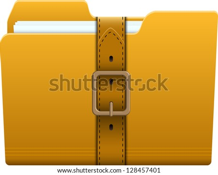 Folder locked with a belt