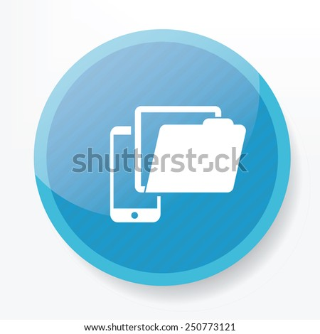 Folder on mobile icon on blue button,clean vector