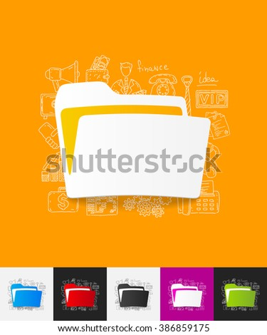 folder paper sticker with hand drawn elements - stock vector