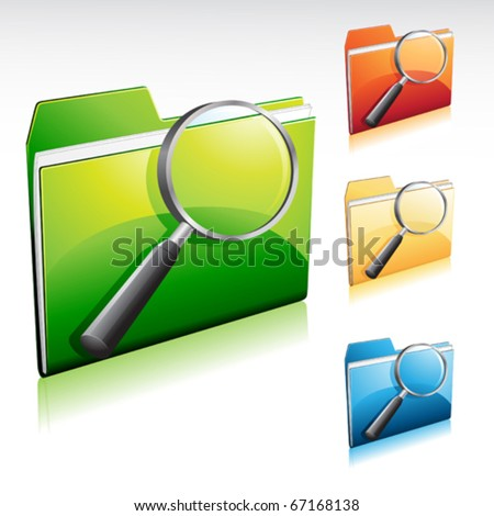 folder search icon, with color variations - stock vector
