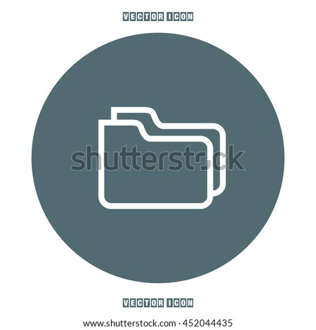 Folder sign line vector icon. Accounting audit sign. Archive symbol. - stock vector