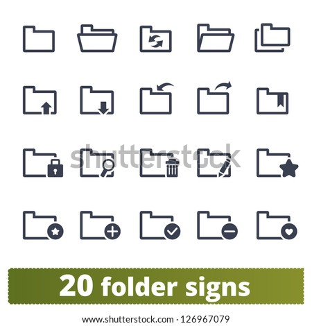 Folder signs: vector set of icons for web and mobile applications - stock vector