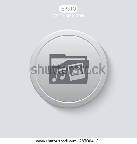 Folder vector icon. Multimedia symbol. - stock vector
