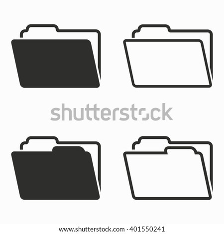 Folder    vector icons set. Black  illustration isolated on white  background for graphic and web design.