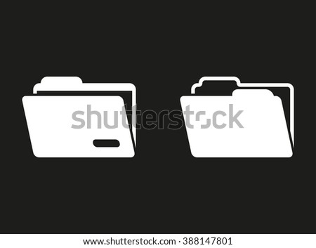 Folder  white icon on a black background. Vector illustration. - stock vector