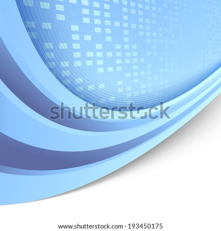 Folder with border swooshy lines abstract blue template and tiles in perspective. Vector illustration