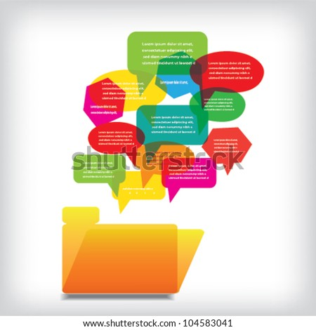 Folder with Colors Speach Bubbles - stock vector