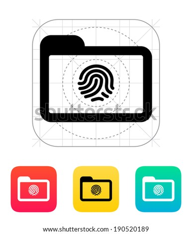 Folder with fingerprint icon. Vector illustration. - stock vector