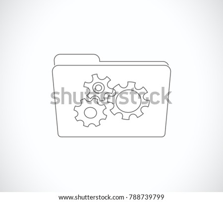 folder with gears outline icon
